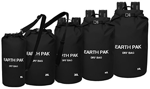 Earth Pak Waterproof Dry Bag – Roll Top Dry Compression Sack Keeps Gear Dry for Kayaking, Beach, Rafting, Boating, Hiking, Camping and Fishing with Waterproof Phone Case